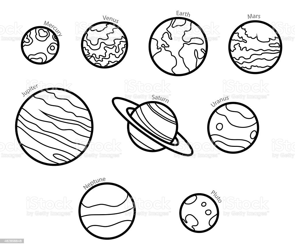 Line Solar System Planets Stock Vector Art & More Images