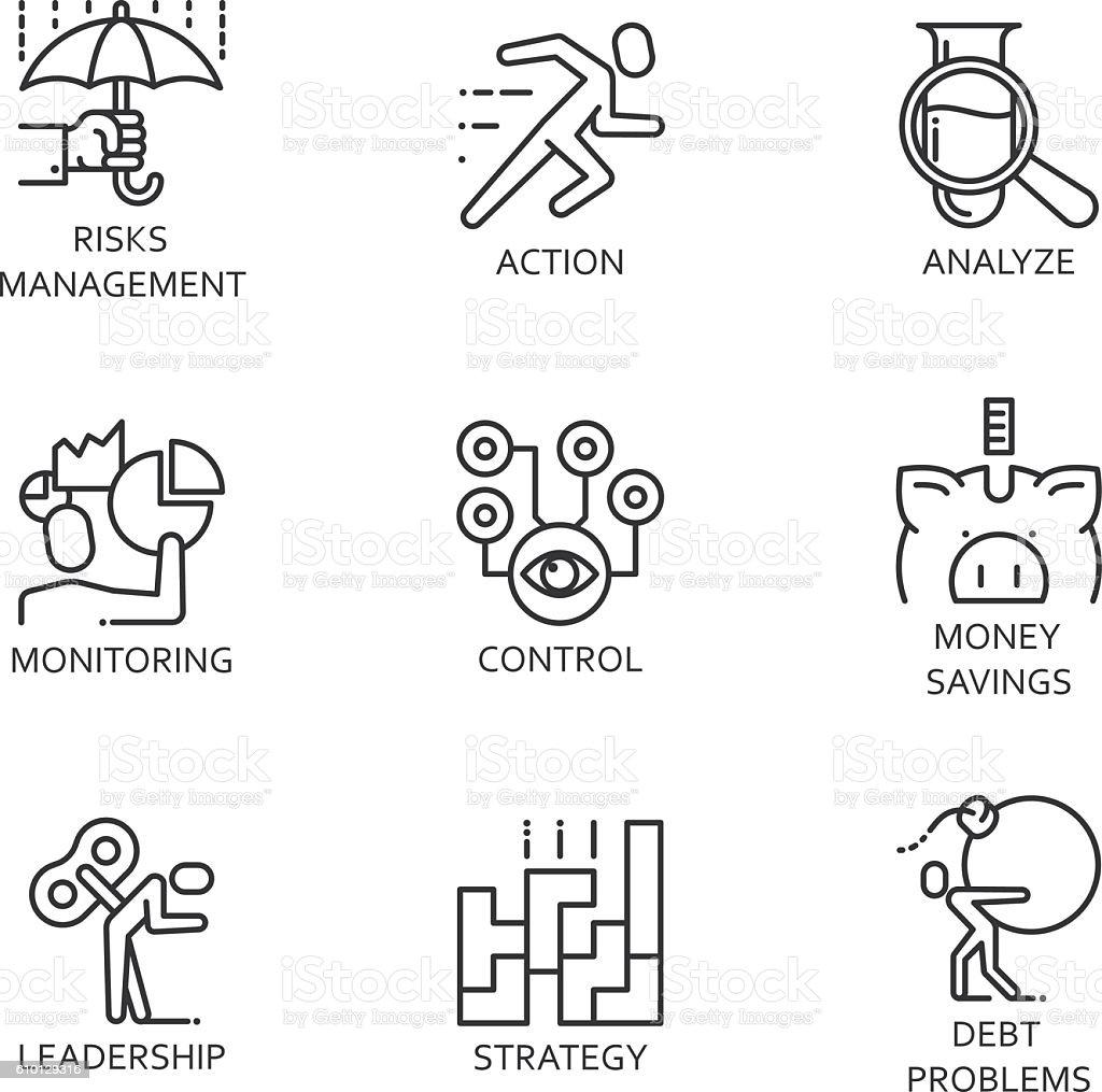 Line Vector Set Icons Symbol Business Process Stock Vector