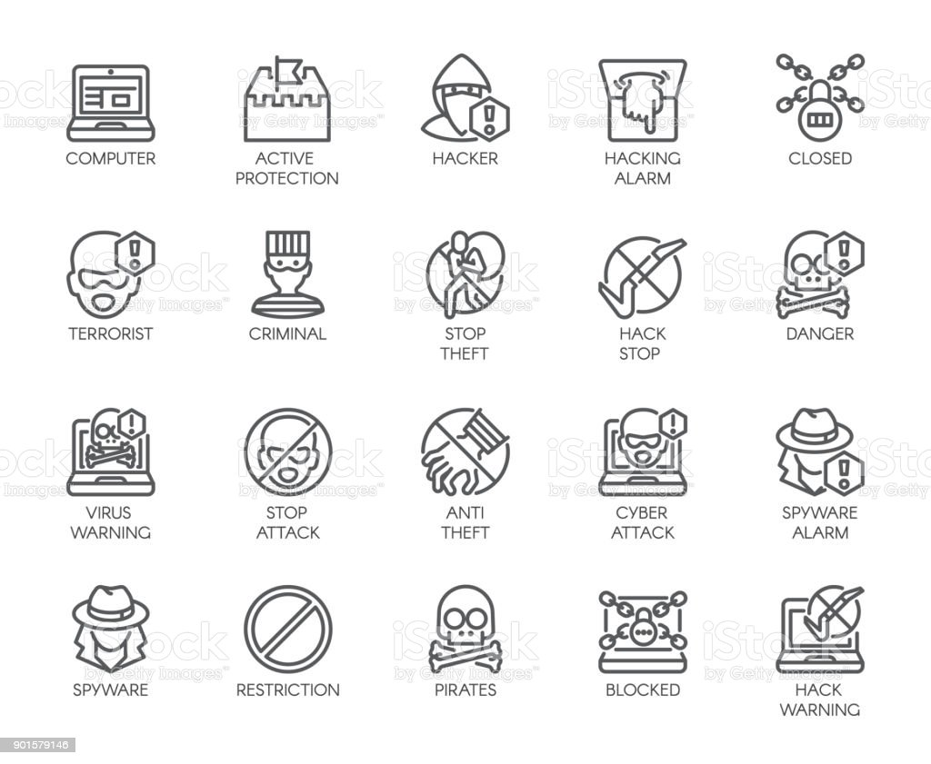 Linear Icons Of Virtual Protection Cyberattacks Computer