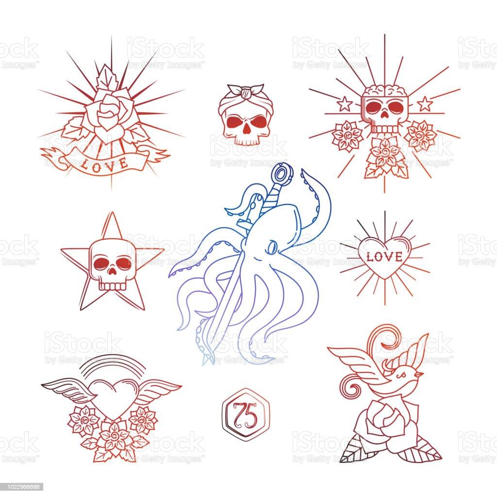Ilustración De Tatuajes Lineales Con Elementos De Cráneo Vector