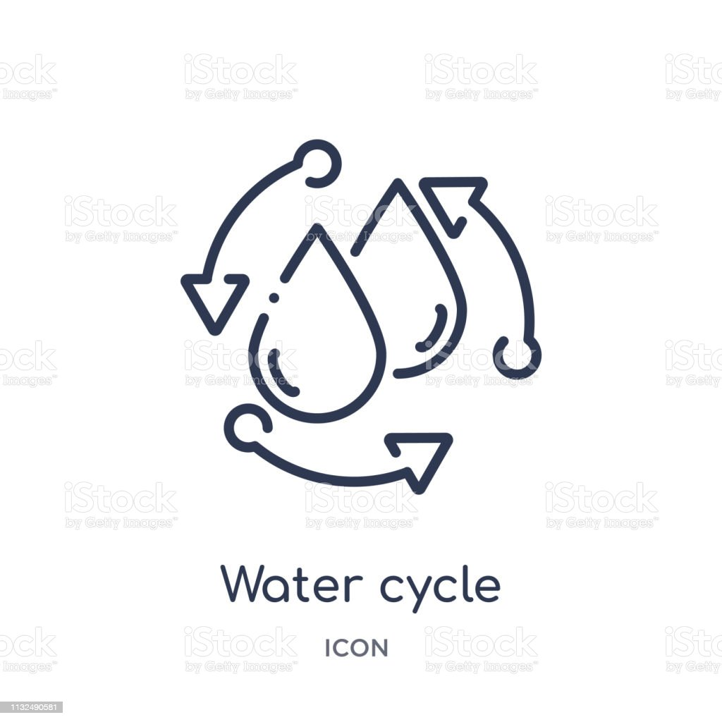 hight resolution of linear water cycle icon from ecology outline collection thin line water cycle vector isolated on