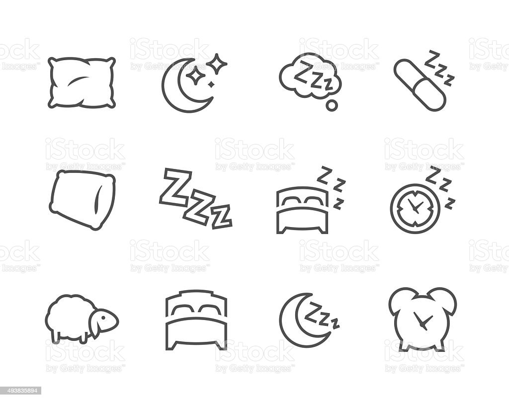 Lined Sleep Well Icons Stock Vector Art & More Images of