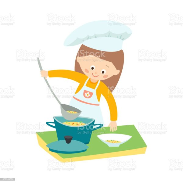 Little Girl Cooking Soup Chef Vector Hand Drawn