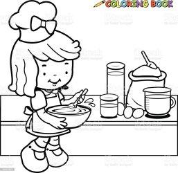 Ilustración de Niña Cocina Libro Para Colorear Página De y más Vectores Libres de Derechos de 2015 iStock
