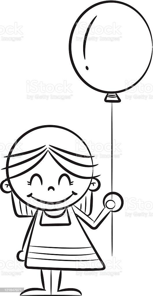 Little Girl Holding Balloon Stock Vector Art & More Images