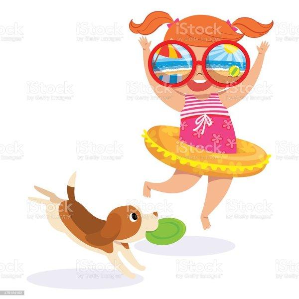 Little Girl In Swimming Suit Beach Stock Vector Art