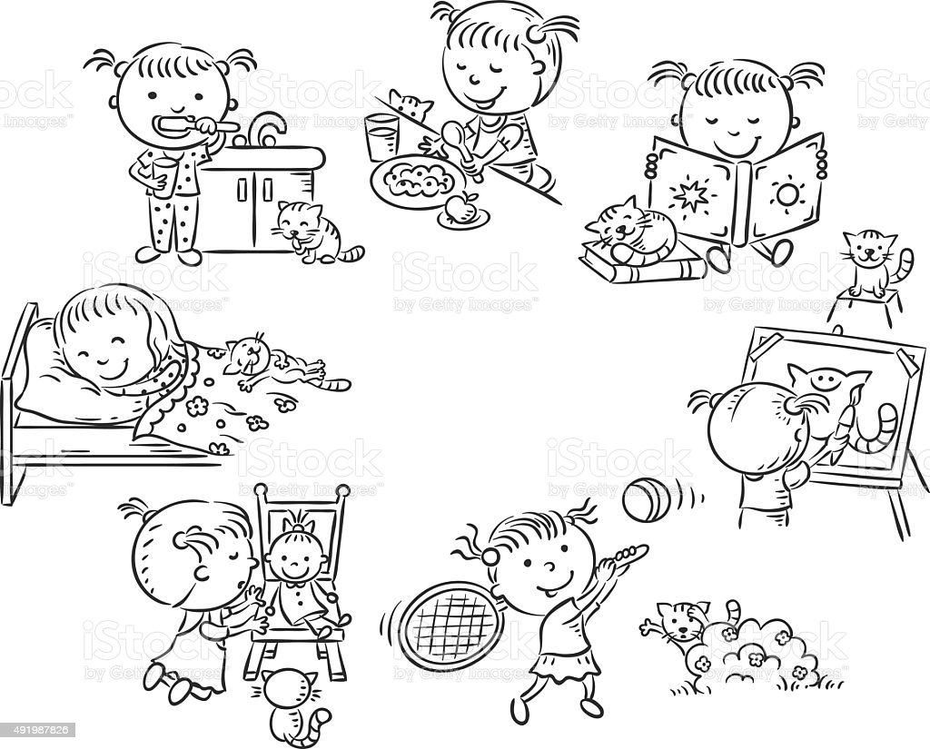 Little Girls Daily Activities Black And White Outline