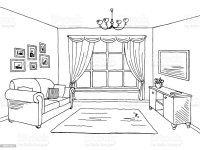 Living Room Graphic Black White Interior Sketch ...