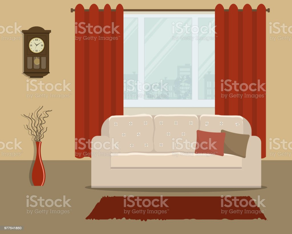 red curtains for living room decorating narrow rectangular in retro style with a white sofa and stock royalty free