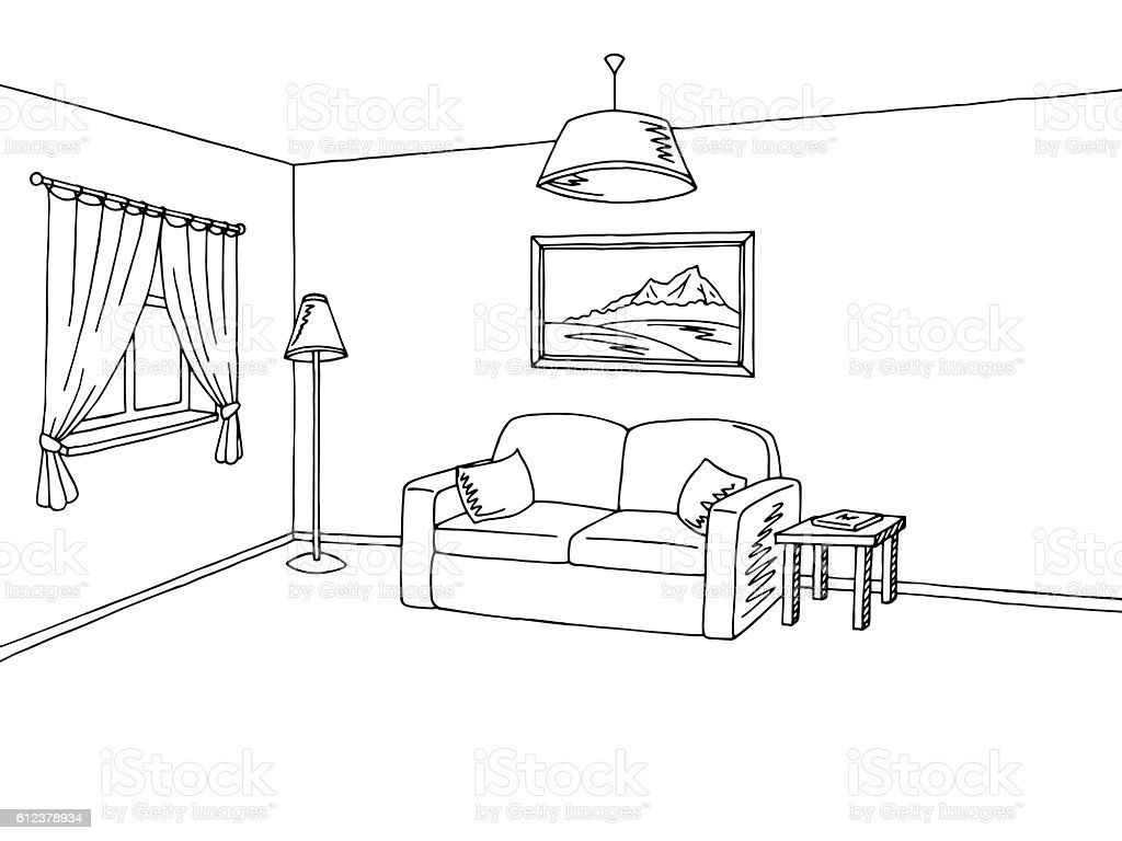 Living Room Sketch Free Vector Art 66 Free Downloads