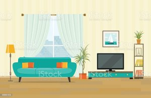 living vector interior furniture flat clip illustration clipart drawing illustrations tv sofa cliparts animation istock graphics