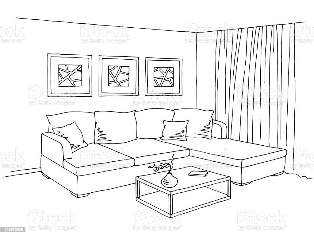 Living Room Interior Graphic Black White Sketch