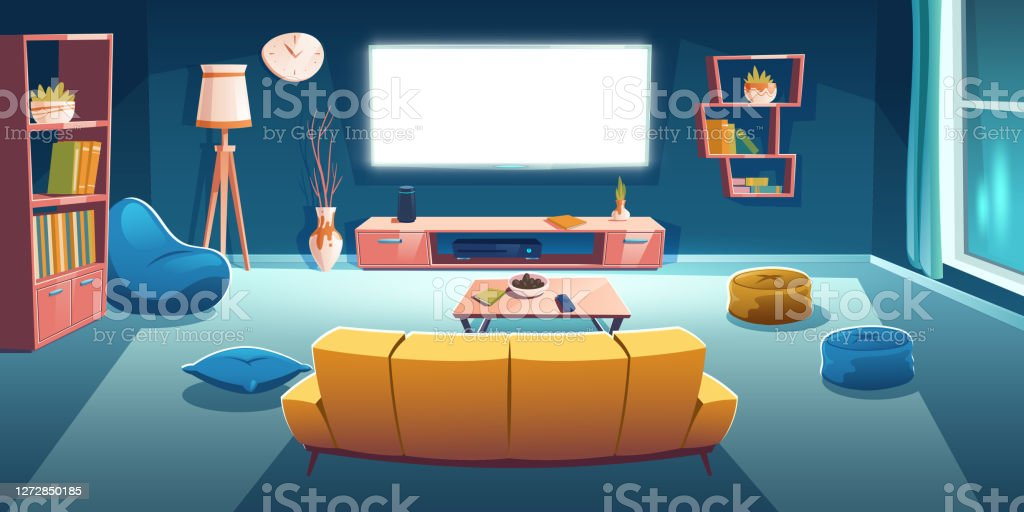 interieur de salon avec tv sofa la nuit vecteurs libres de droits et plus d images vectorielles de ameublement istock