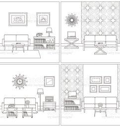 living room interiors retro linear vector illustration royalty free living room interiors retro [ 1024 x 805 Pixel ]