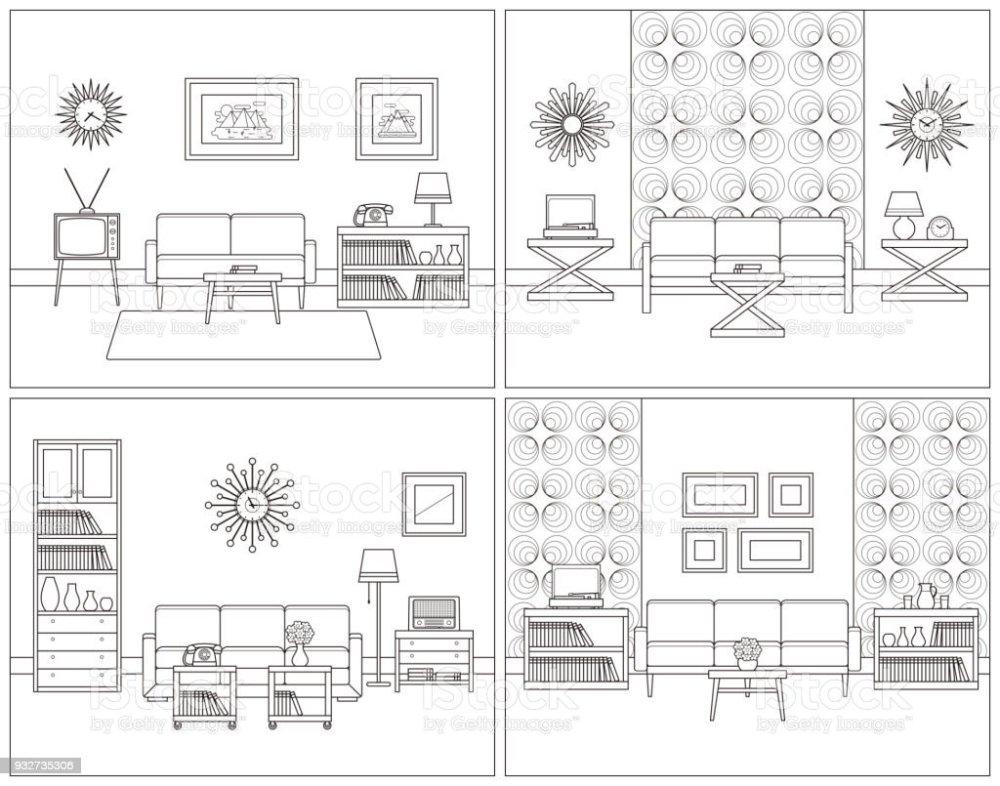medium resolution of living room interiors retro linear vector illustration royalty free living room interiors retro