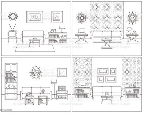 small resolution of living room interiors retro linear vector illustration royalty free living room interiors retro