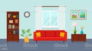 living sofa wohnzimmer bookcase window casa plant illustrations clip vase paintings ventana flat dibujos cuadros soggiorno freepik interior cartoon piatto