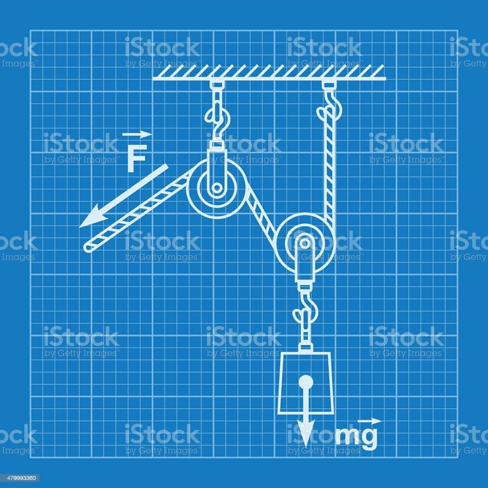 medium resolution of loaded movable pulleys and rope blueprint illustration