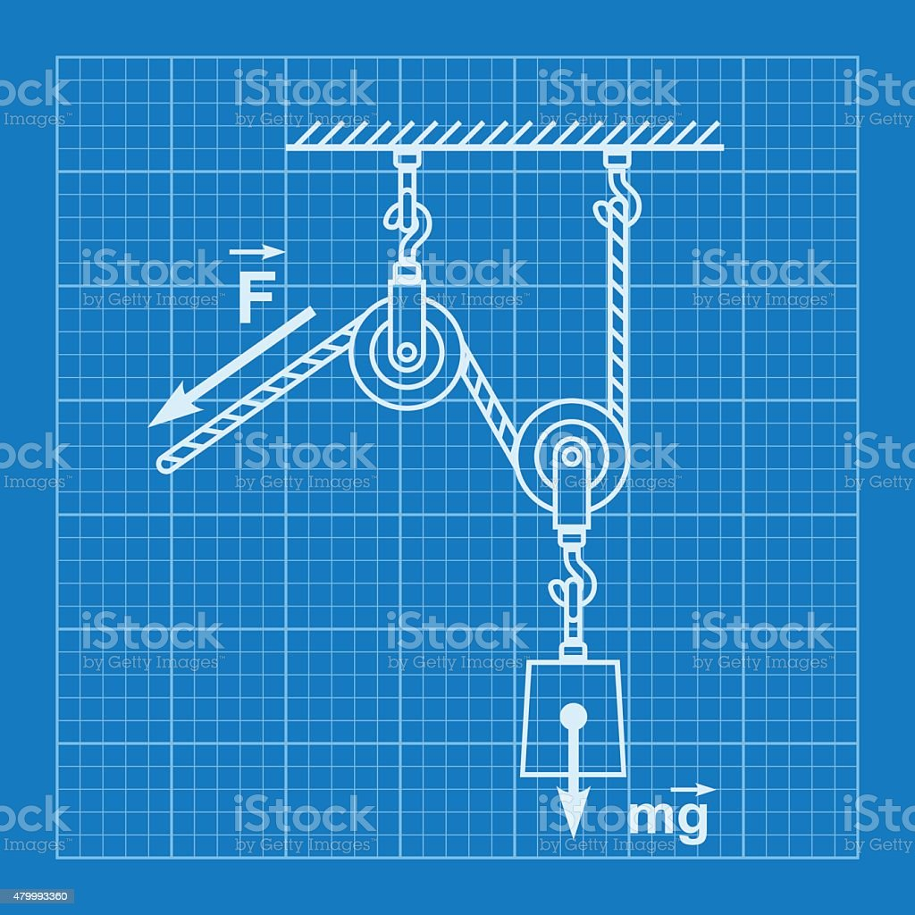 hight resolution of loaded movable pulleys and rope blueprint illustration