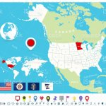 Location Of Minnesota On Usa Map With Flags And Map Icons Stock Illustration Download Image Now Istock