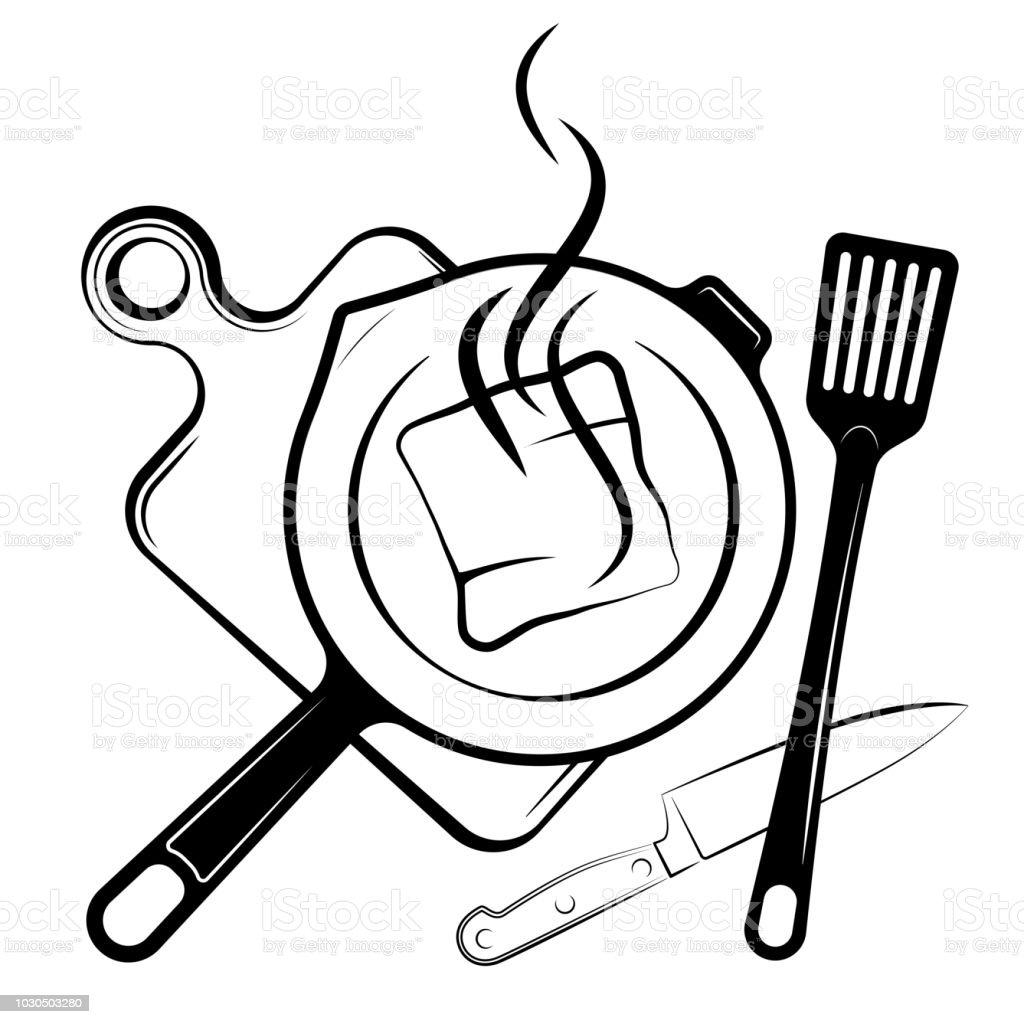 Logo Pour Le Menu Ou Le Restaurant Poêle À Frire Et Une