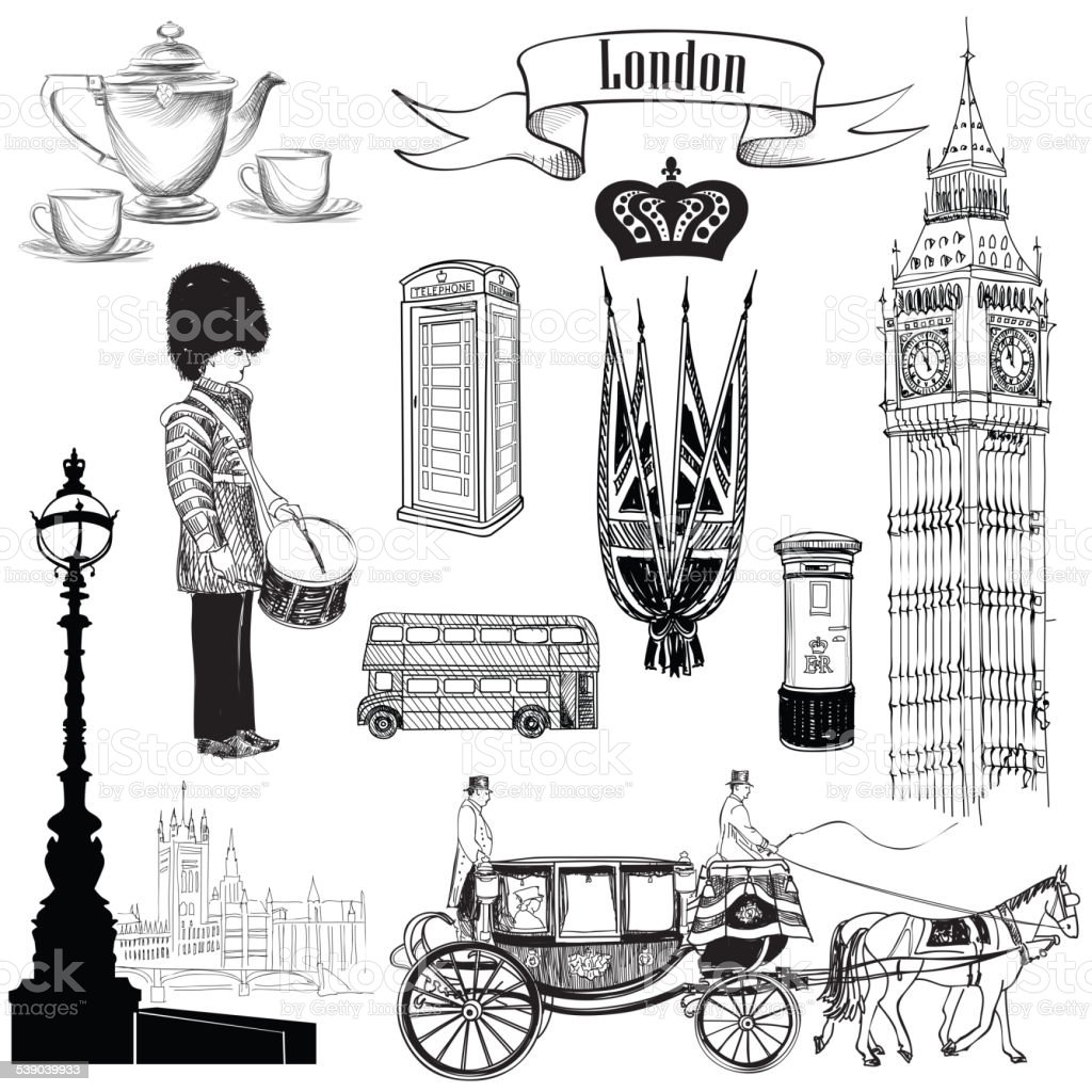 London Symbols Sketch Icon Set Travel England Collection