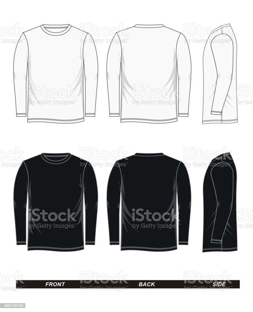 Long Sleeve Shirt Vector : sleeve, shirt, vector, Longsleeved, Tshirt, Black, White, Stock, Illustration, Download, Image, IStock