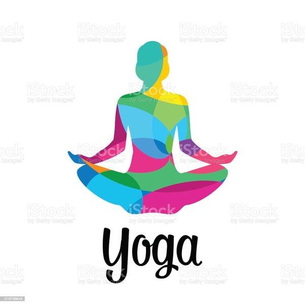 Lotus Yoga Pose Icon Vector Abstract Stock Art