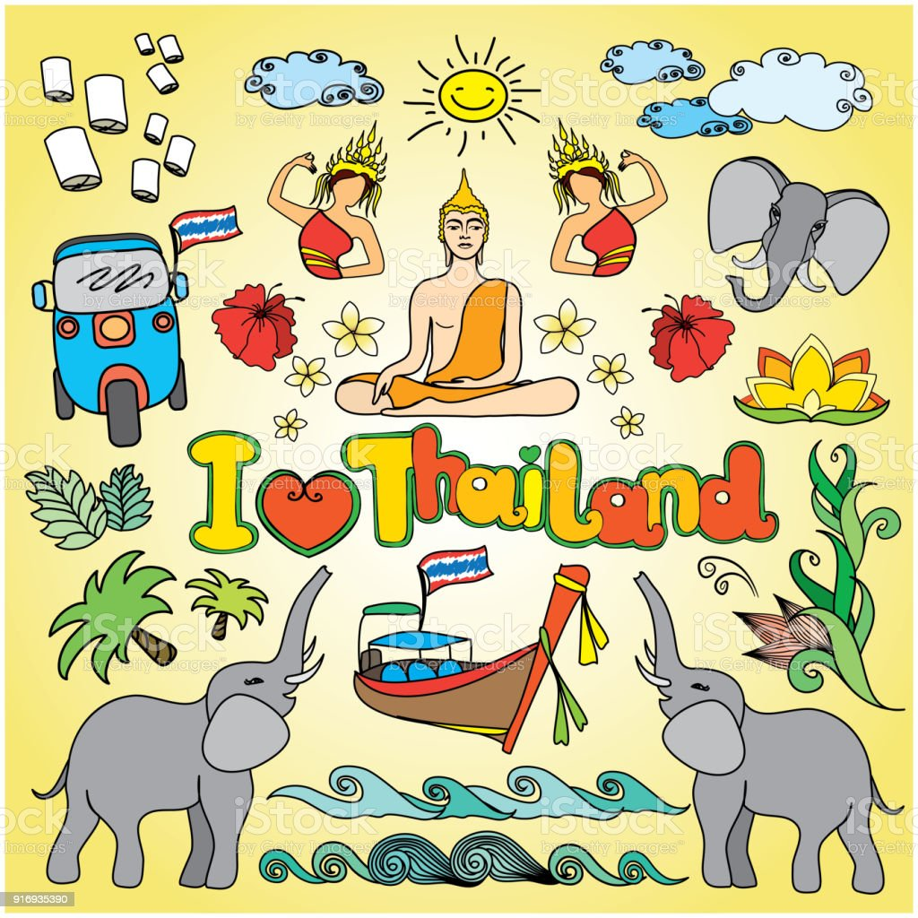 I Love Thailand . Set Thai Color Vector Icons And Symbols Royalty-Free I  Love