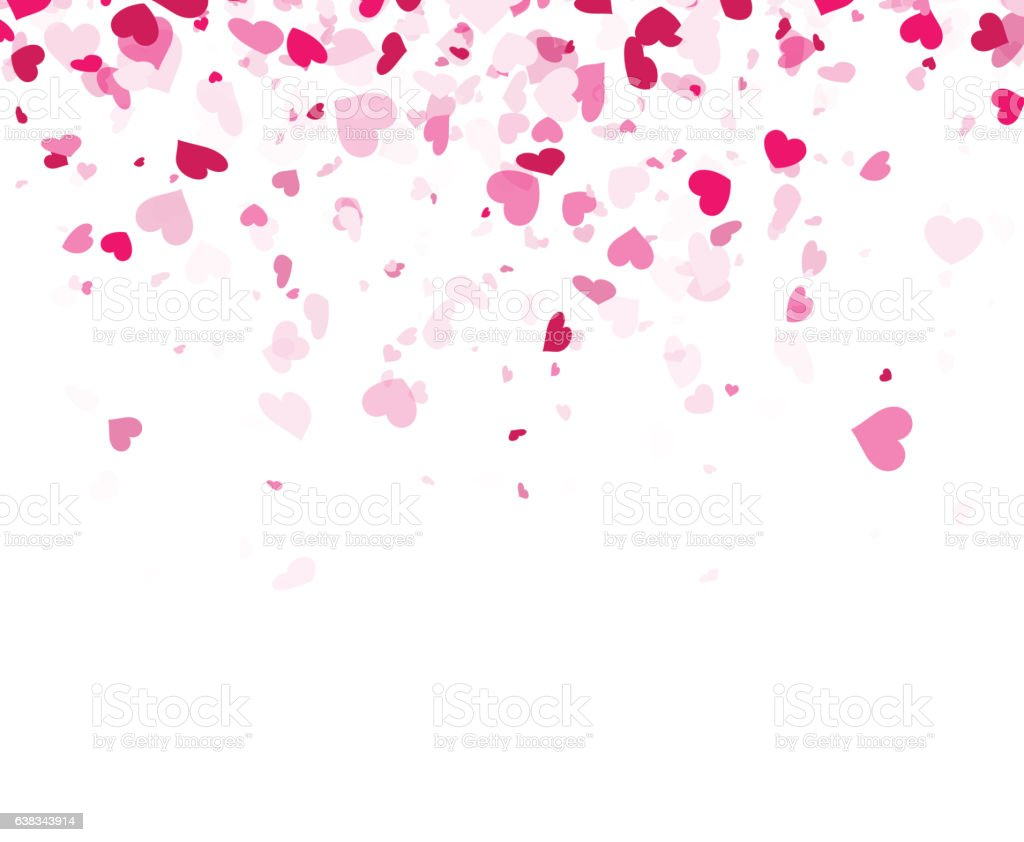 Falling Glitter Confetti Wallpapers Love Valentines Background With Hearts Stock Illustration