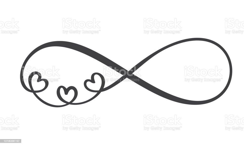 愛的詞在無限的標誌在明信片上簽名 情人節 紋身 印刷品在白色背景下隔離的向量書法和刻字插圖 向量插圖及更多 剪裁圖