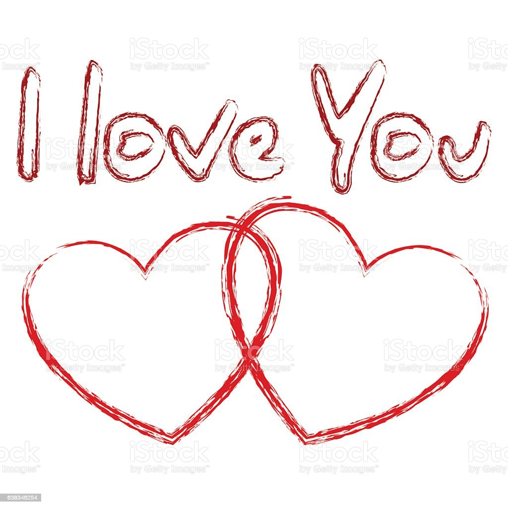Love You Bilder I Love You Text And Two Hearts Stock Illustration - Download Image Now - Istock
