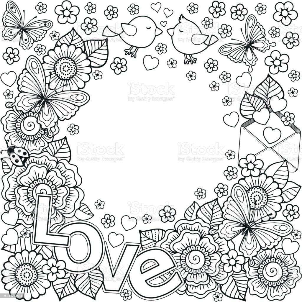 I Love You Vector Abstract Coloring Book For Adult Design