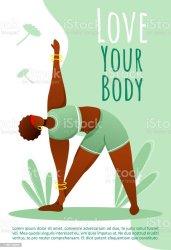 body active female health template vector yoga brochure lifestyle magazine bodypositive booklet leaflet illustrations flat flyer layout space cartoon adult