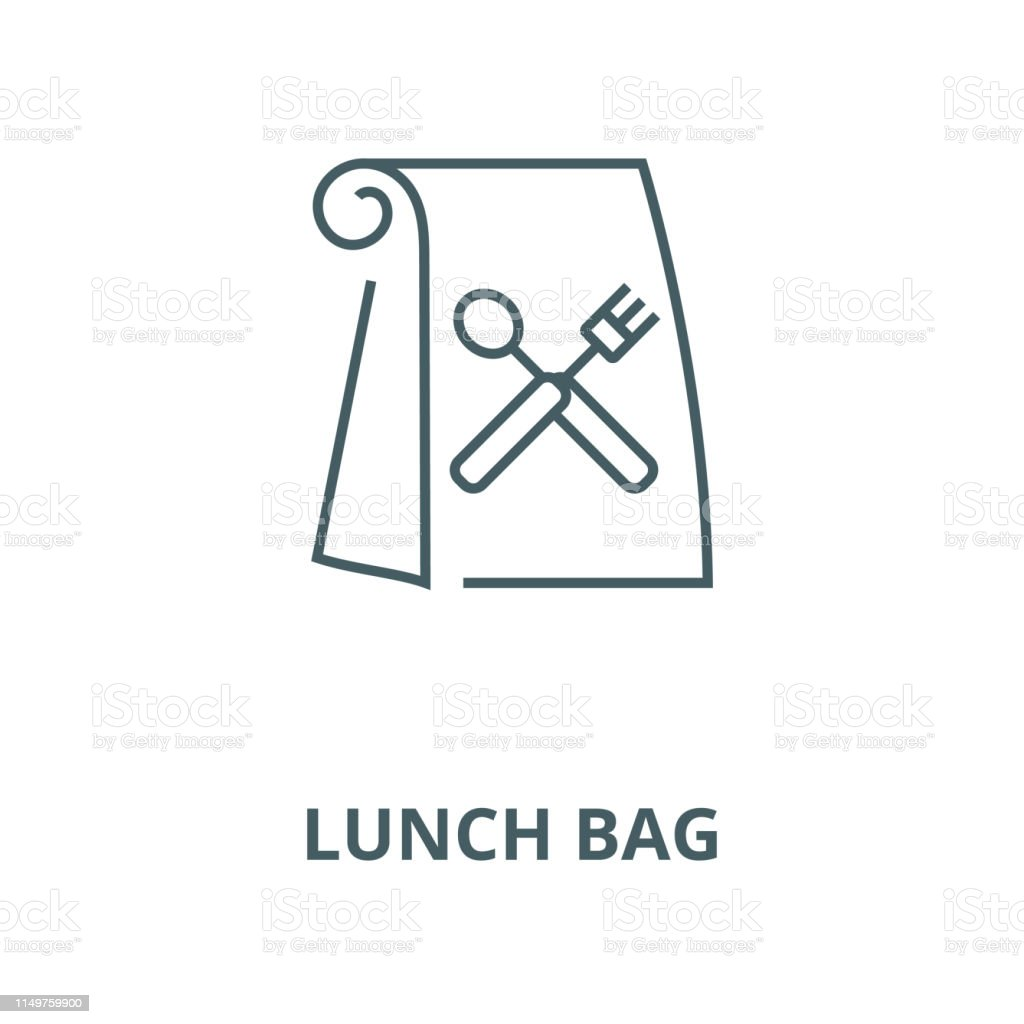 Lunch Bag Vector Line Icon Linear Concept Outline Sign