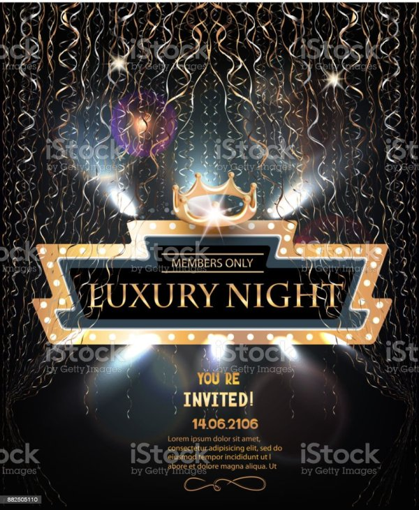 Luxury Night Party Invitation Card With Retro Frame Gold