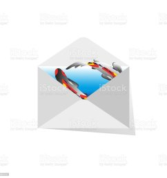 mail envelope with koi fish on blue background vector drawing for design of cards  [ 1024 x 1024 Pixel ]