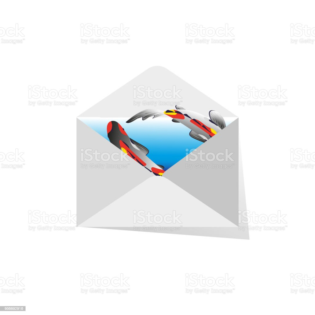 hight resolution of mail envelope with koi fish on blue background vector drawing for design of cards