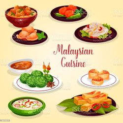 icon menu malaysian restaurant cuisine asian malaysia vector illustration asia illustrations coconut clip shrimp vectors indonesia bean usa similar