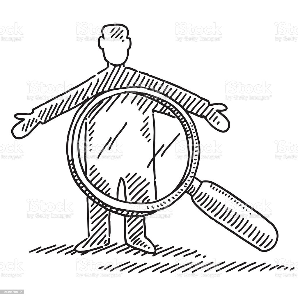 Man And Loupe Symbol For Security Check Drawing Stock