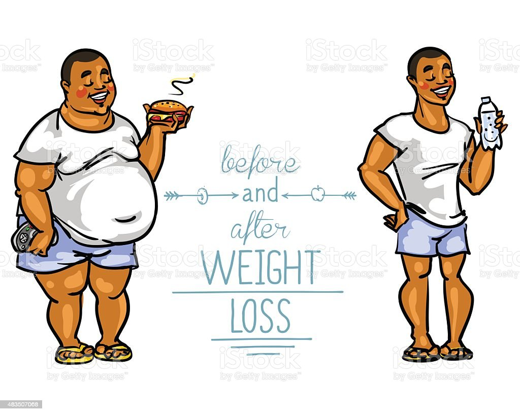 Royalty Free Before And After Weight Loss Clip Art, Vector