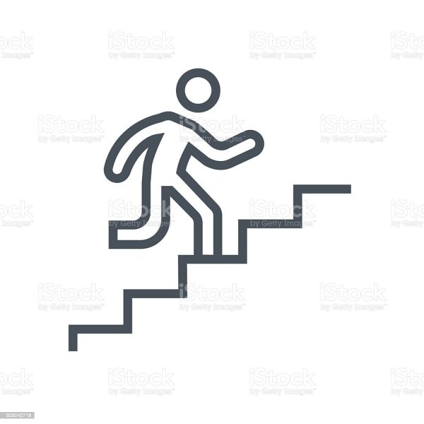 man climbing stairs icon stock