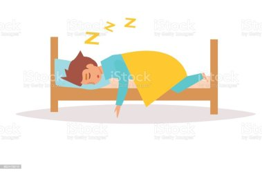 sleeping cartoon bed vector funny clip background vectors clipart illustration illustrations adult royalty dreamstime bag isolated flat line istockphoto similar