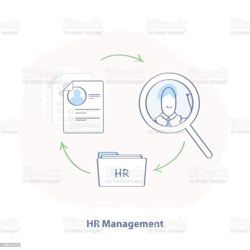 hight resolution of hr management flat line illustration concept of human resources management illustration