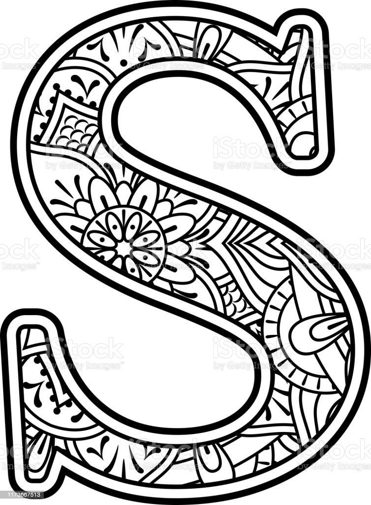 Mandala Art Coloring Letter S Stock Illustration