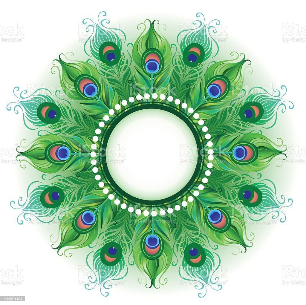 Mandala Of Green Peacock Feathers Stock Vector Art Amp More