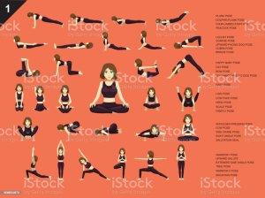 poses yoga cartoon easy manga vector pose plank woman illustration exercise bridge clip illustrations monochrome