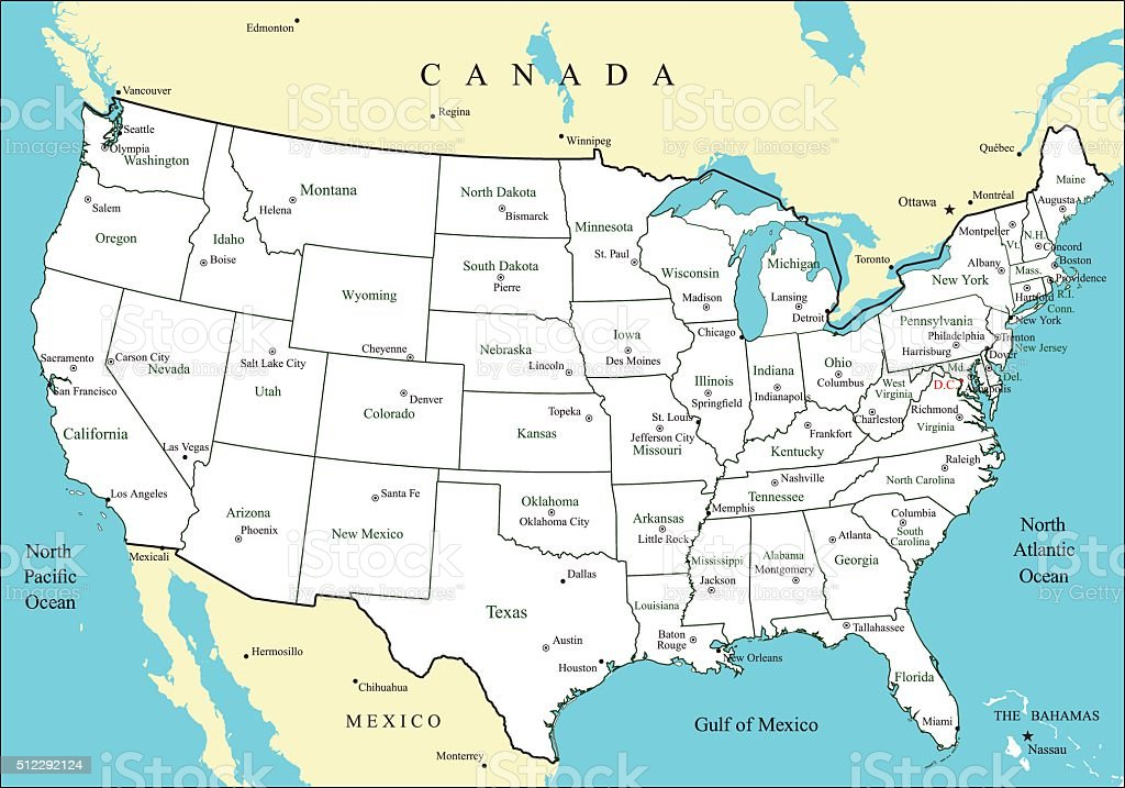 Usa Map With States And Major Cities And Capitals Stock