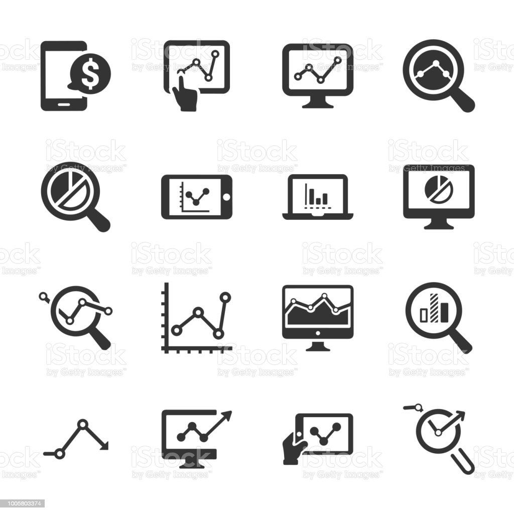 Marketing Research Icons Gray Version Stock Illustration
