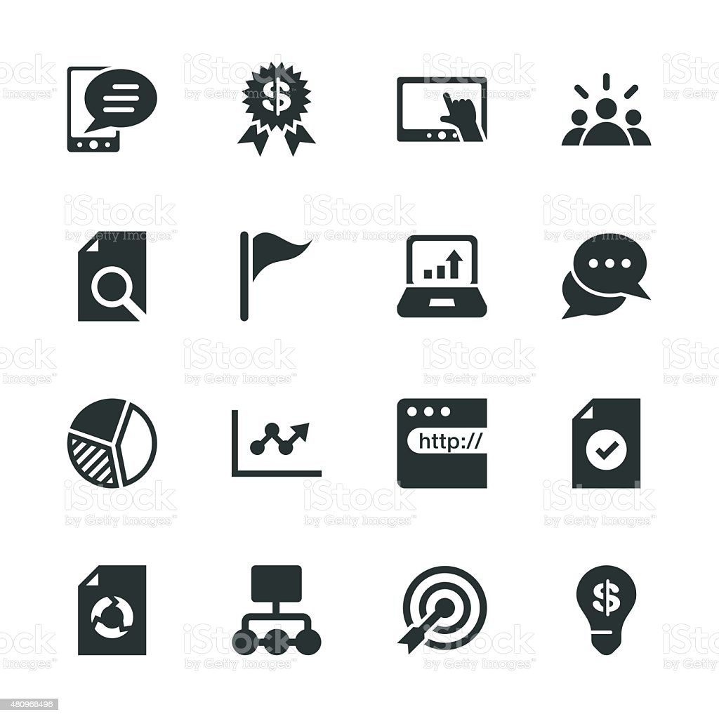 Marketing Silhouette Icons Stock Vector Art & More Images